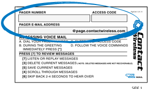 voicemail email to pager information